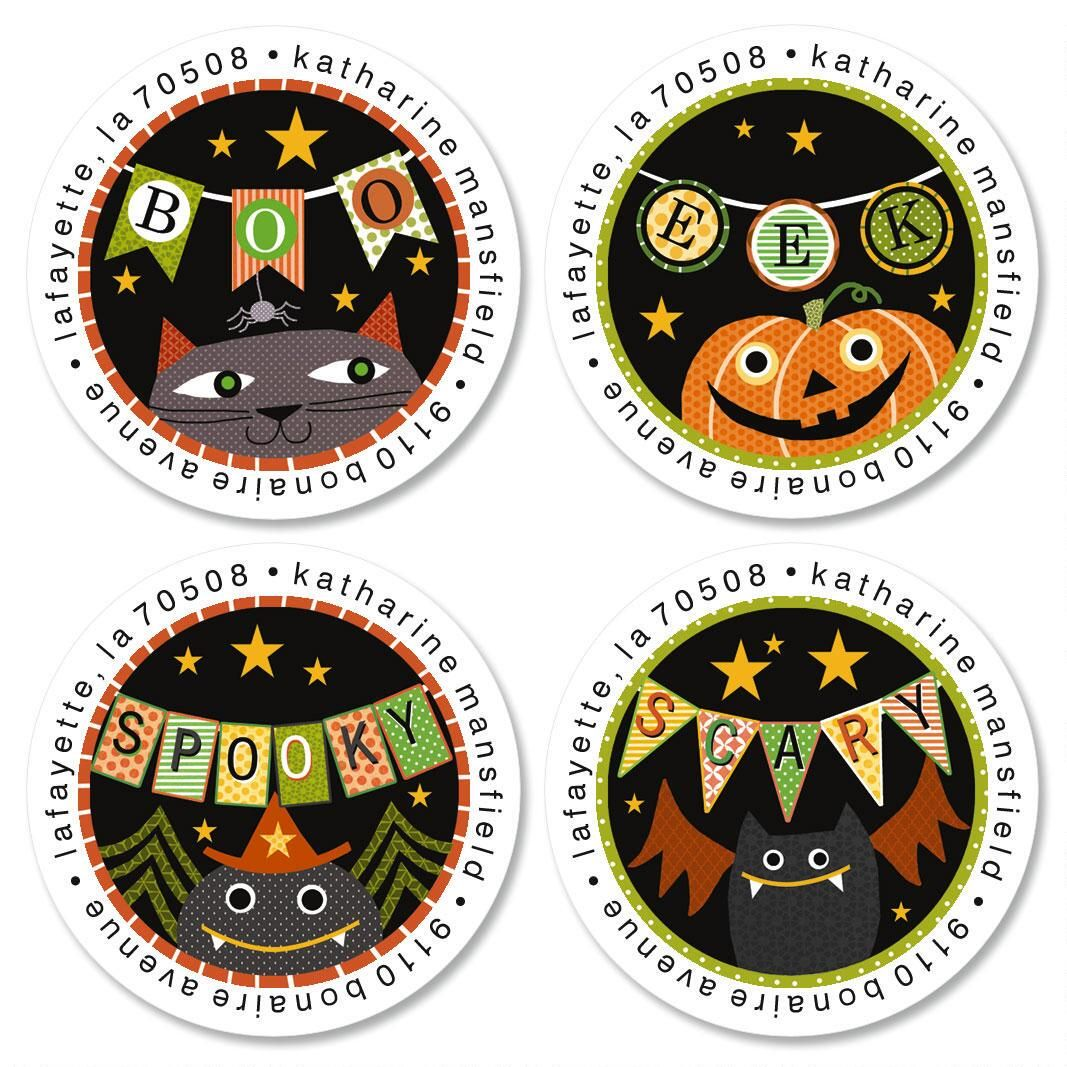 Boo Banners Round Address Labels  (4 Designs)
