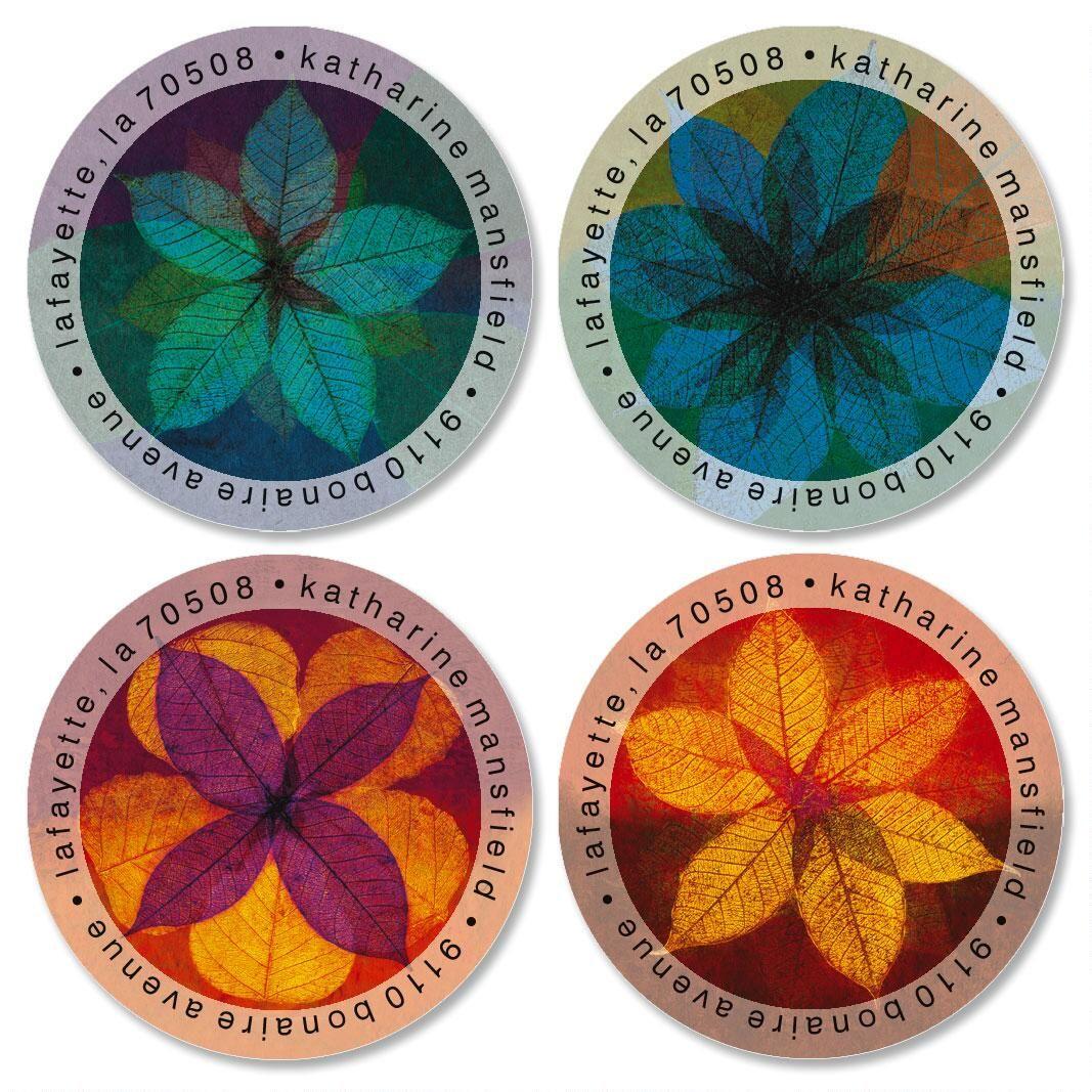 Leaf Florals Round Return Address Labels  (4 Designs)