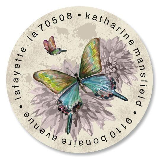 Vintage Butterfly Round Return Address Labels