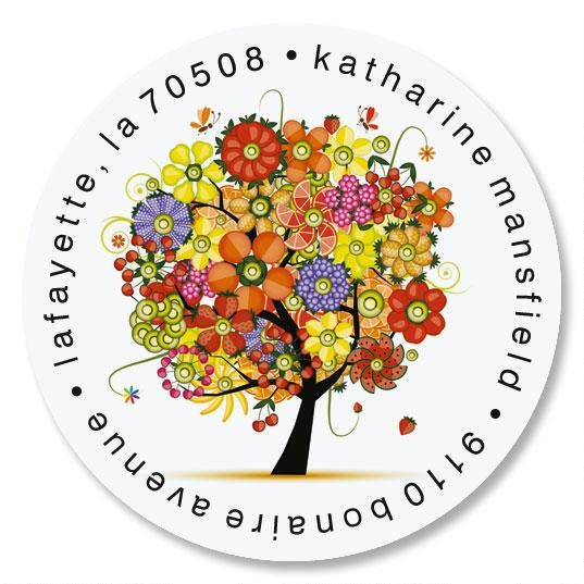 Blooming Tree Round Address Labels