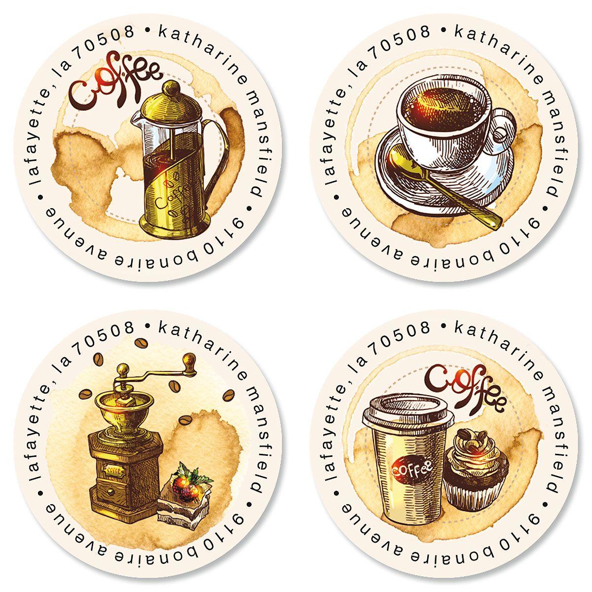 Barista Round Return Address Labels (4 Designs)