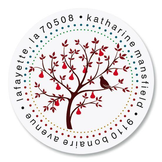 Pear Tree Round Return Address Labels
