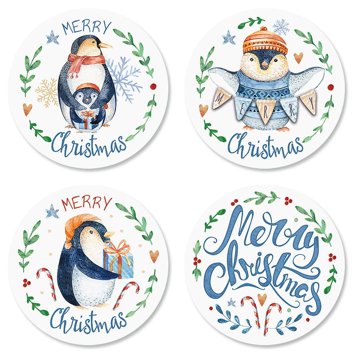 Merry Penguins Envelope Seals (4 Designs)