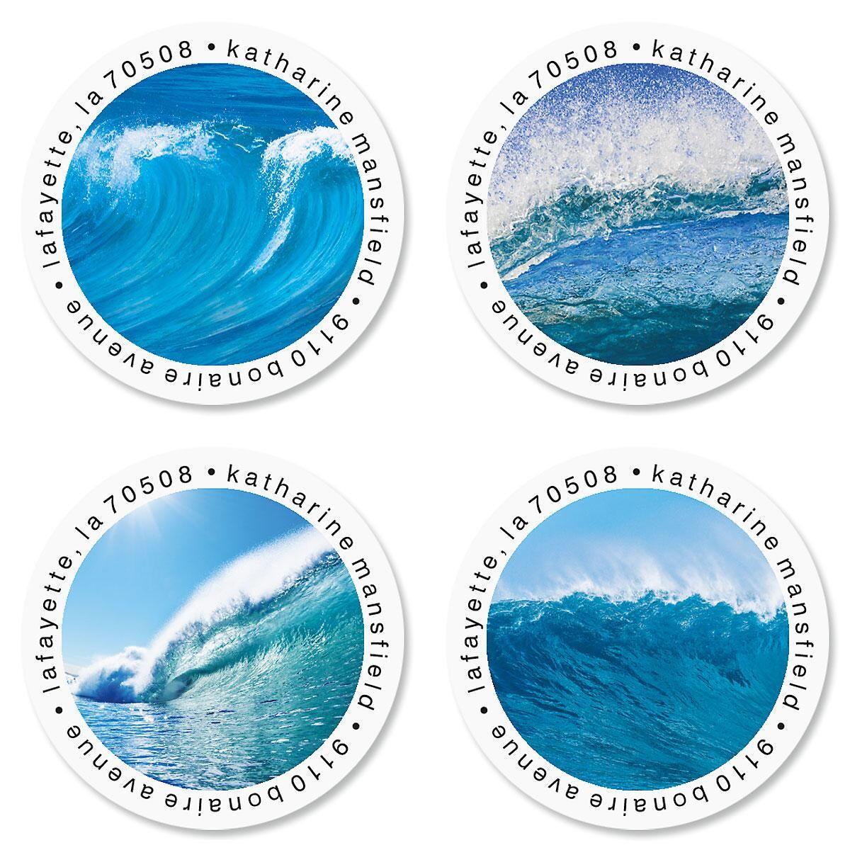 Energetic Ocean Round Return Address Labels  (4 Designs)