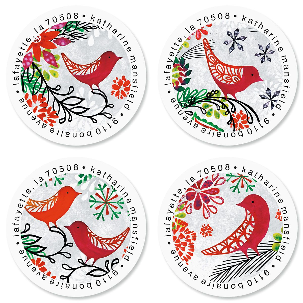 Red Bird Christmas Round Return Address Labels (4 Designs)