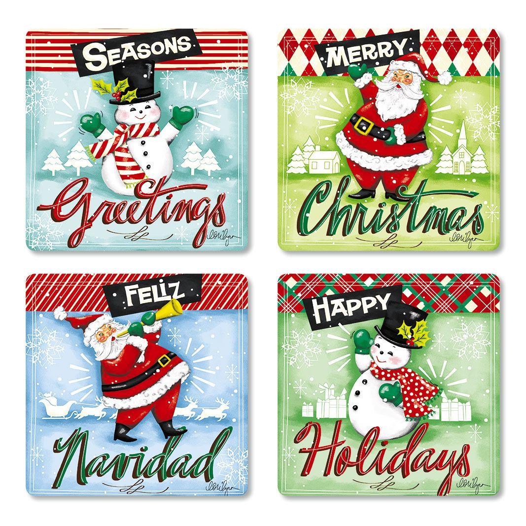 Retro Christmas Envelope Seals (4 Designs)