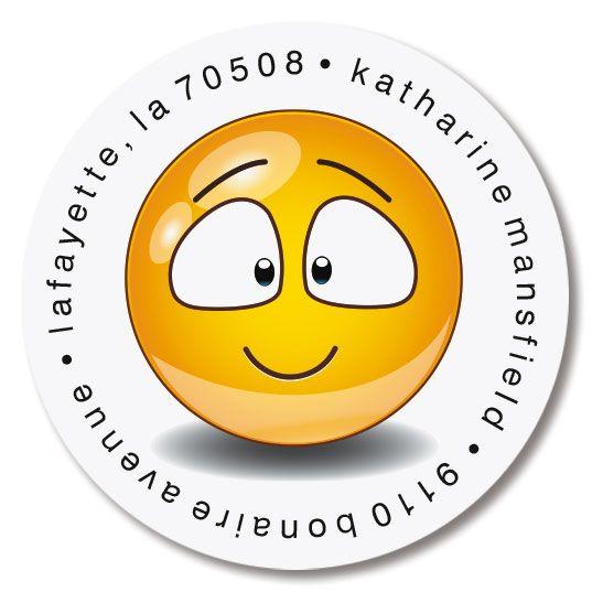 Emoji Icons Round Return Address Labels (6 Designs)