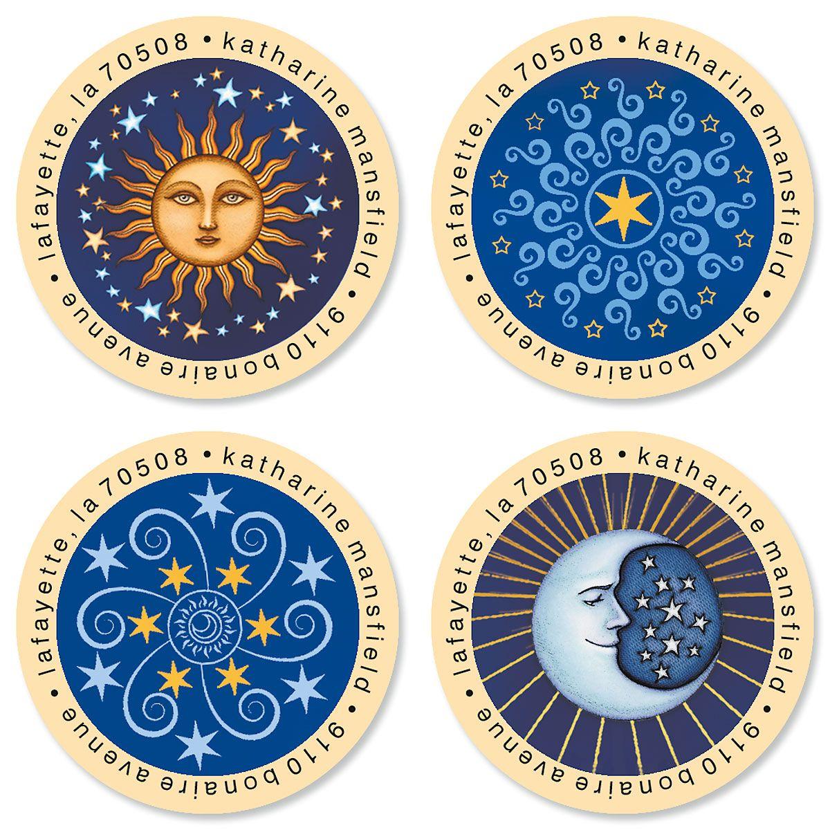 Sun & Moon Round Address Labels (4 Designs)