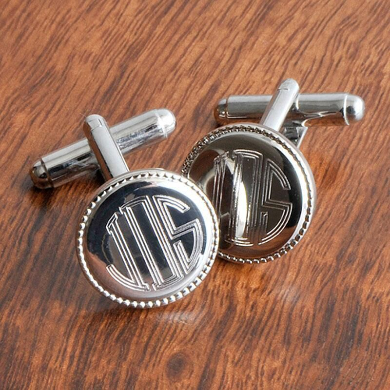 Silver-Beaded Personalized Round Cuff Links