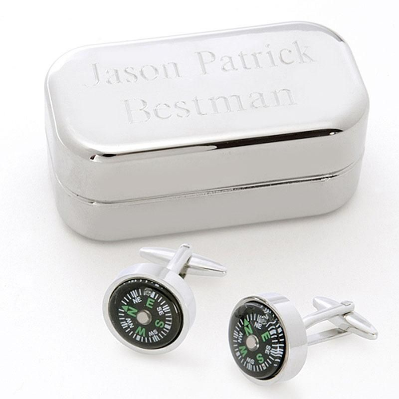 Sporty Compass Personalized  Cuff Links with Box