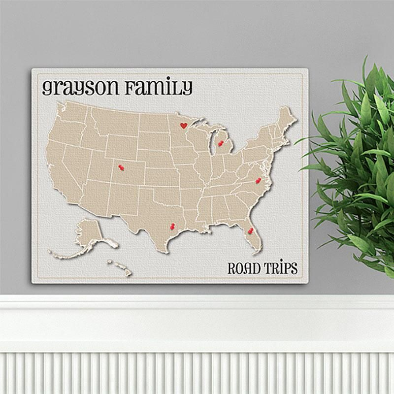 Americana Heart Family Map Canvas Print