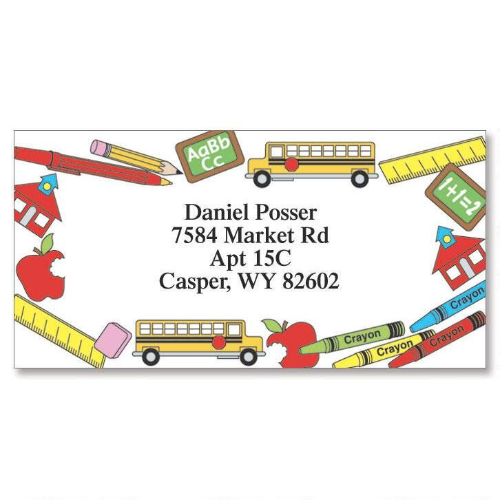 School Days Border Return Address Labels