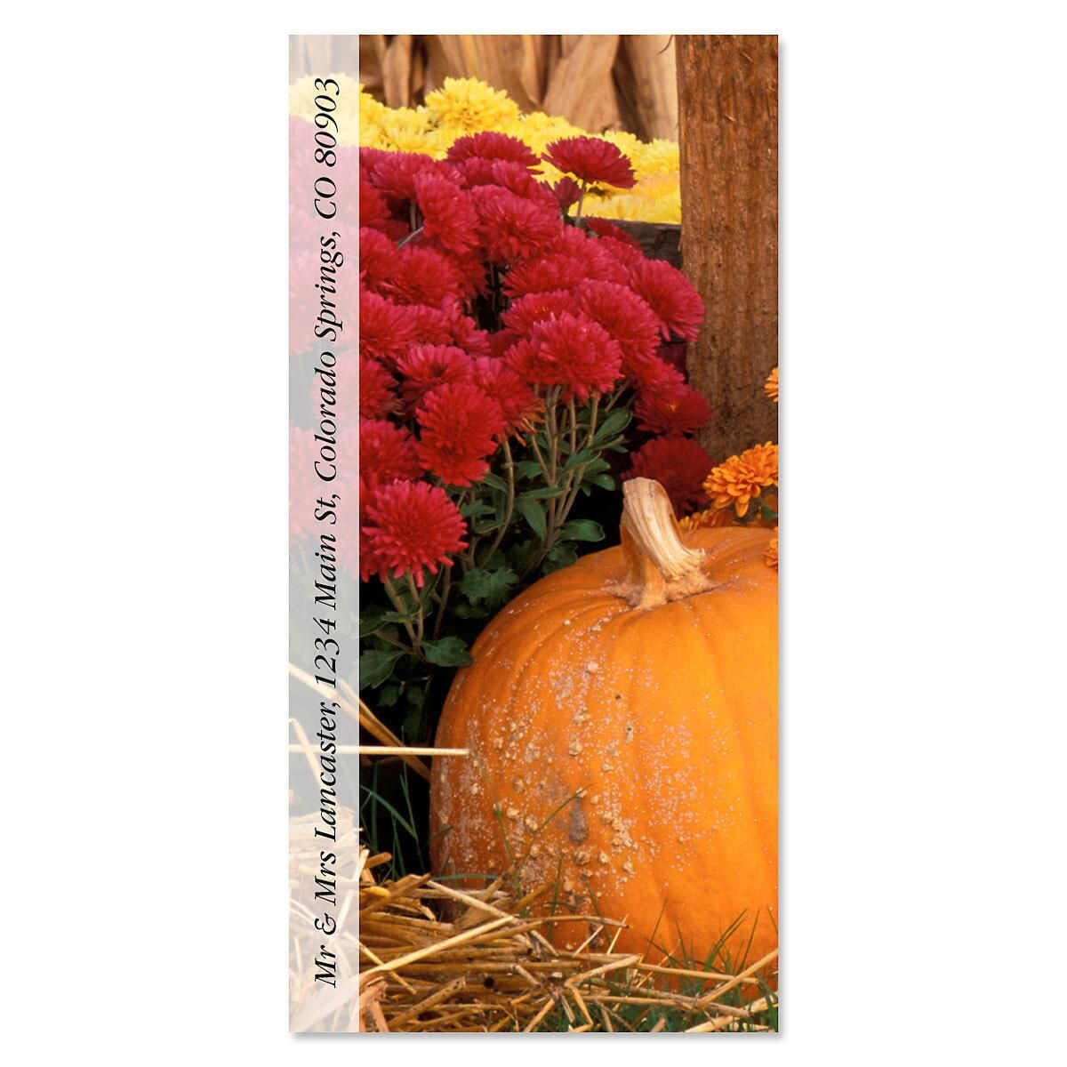 Pumpkins and Mums Oversized Return Address Labels