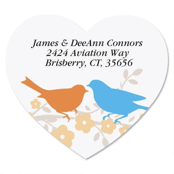 Love Birds Diecut Return Address Labels
