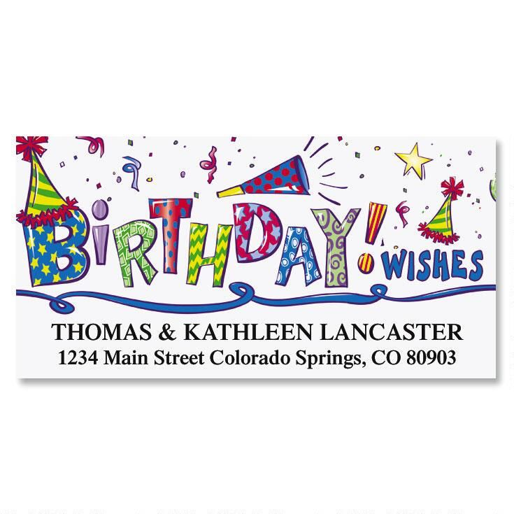 Birthday Wishes Deluxe Return Address Labels (4 Designs)