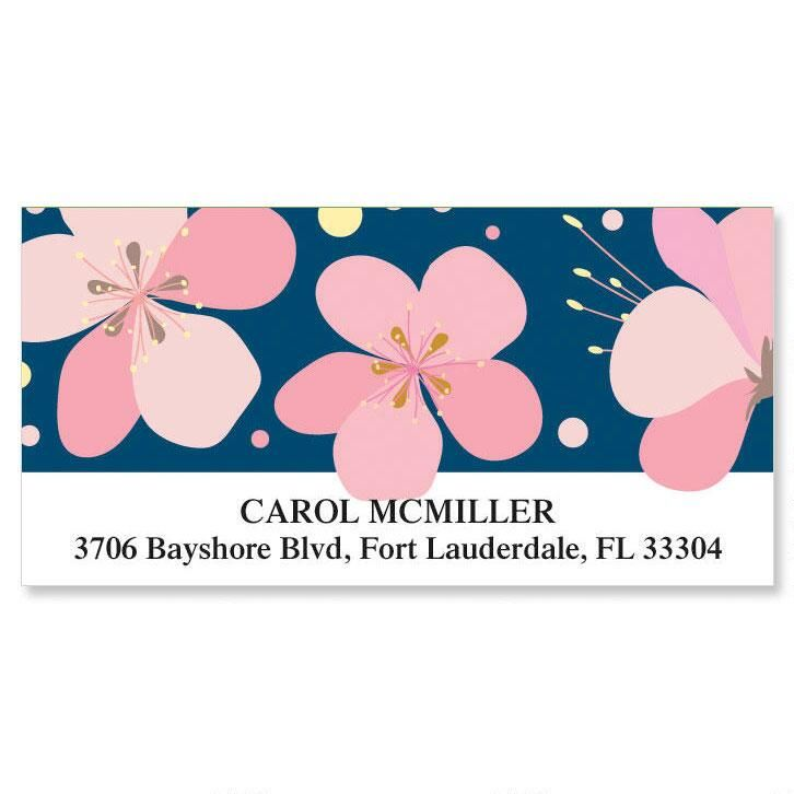 Pink Blossom Deluxe Return Address Labels