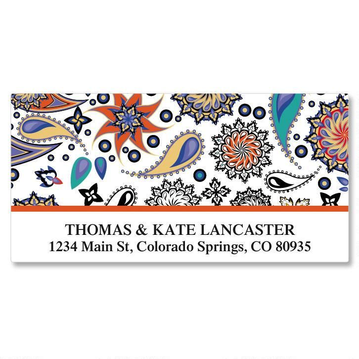 Color Paisley Deluxe Return Address Labels