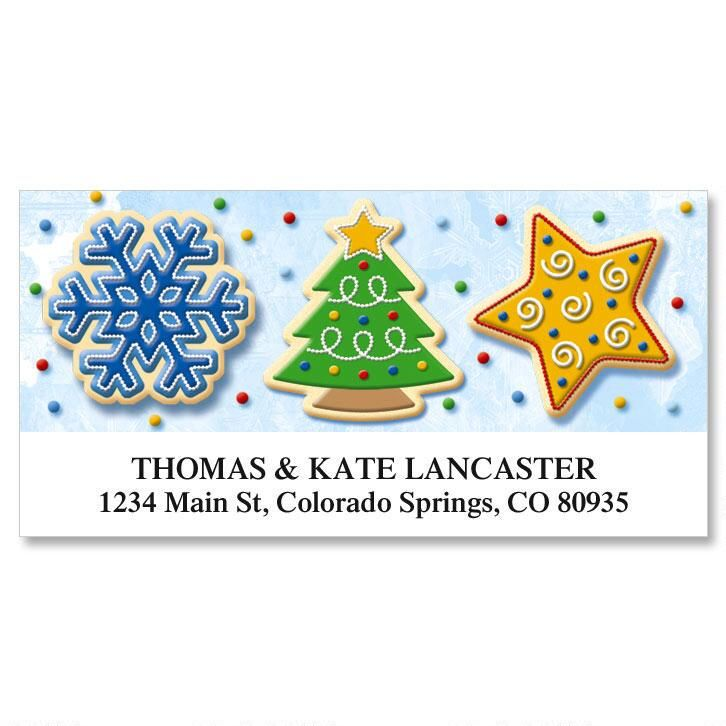 christmas cookie deluxe return address labels colorful images