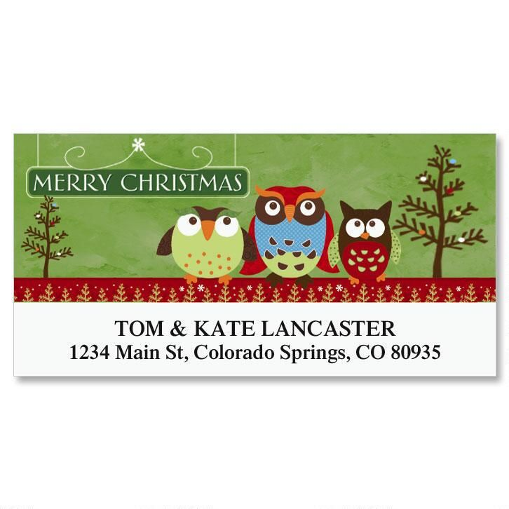 Christmas Owls Deluxe Return Address Labels