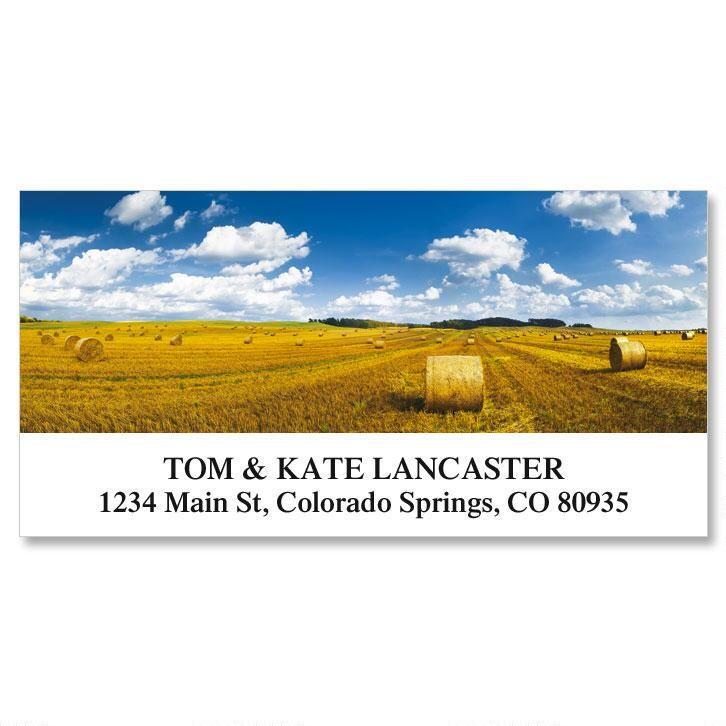 Straw Bales in Field  Deluxe Address Labels