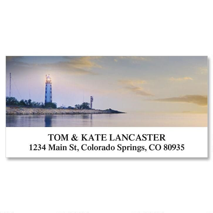 Seascape and Lighthouse Deluxe Return Address Labels