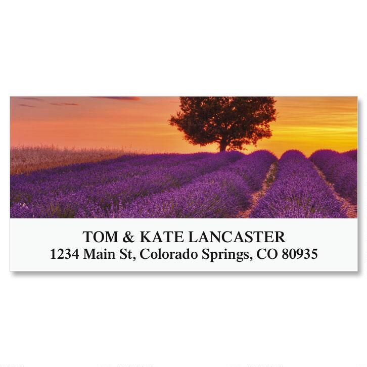 Sunset And English Lavender Deluxe Address Labels
