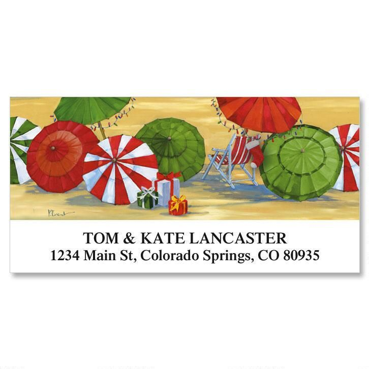 Holiday Umbrella Deluxe Address Labels