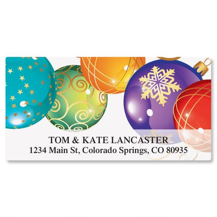 Candy Colored Ornaments Deluxe Return Address Labels
