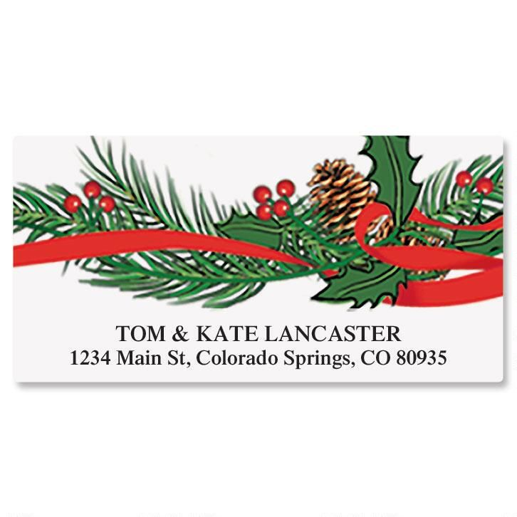 Holiday Holly Deluxe Return Address Labels