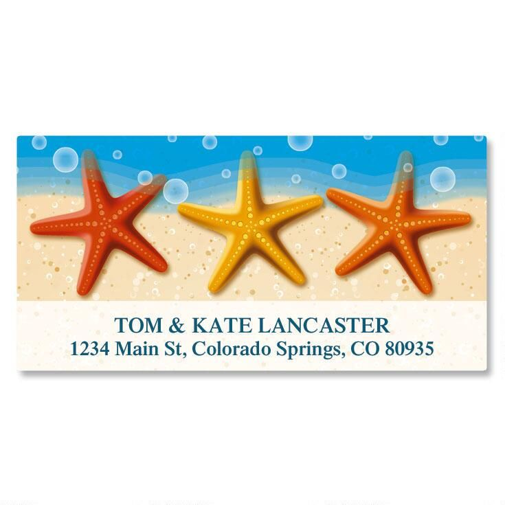 Starfish Trio Deluxe Return Address Labels