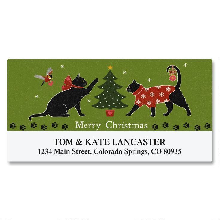 Festive Felines Deluxe Address Labels