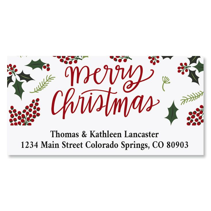 Berry Border Deluxe Christmas Address Labels