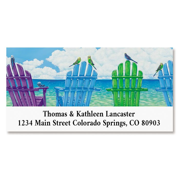 Beach Chairs Deluxe Return Address Labels | Colorful Images