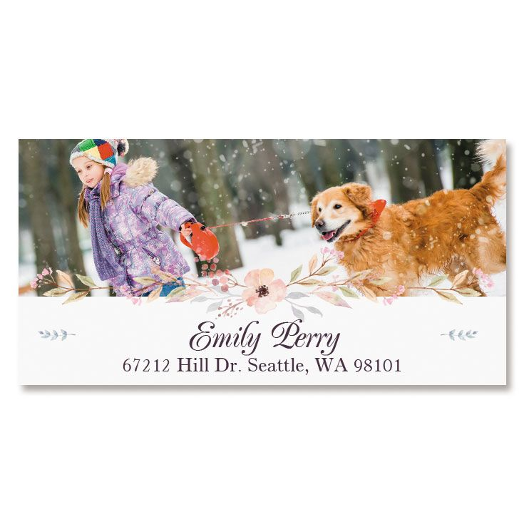 Floral Deluxe Photo Return Address Label