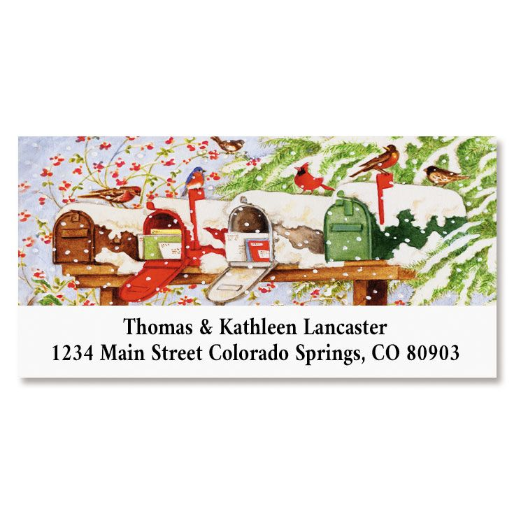 Christmas Mailboxes Deluxe Return Address Labels