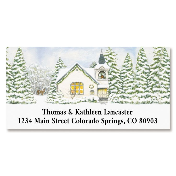 Christmas Church Deluxe Return Address Labels