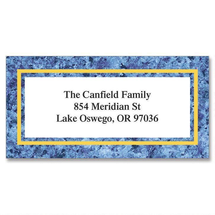 Blue Granite Border Return Address Labels
