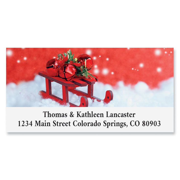 Holiday Sled Deluxe Return Address Labels