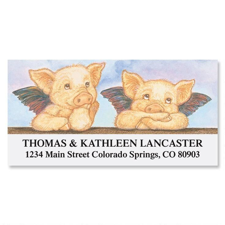 Piglet Angels Deluxe Return Address Labels