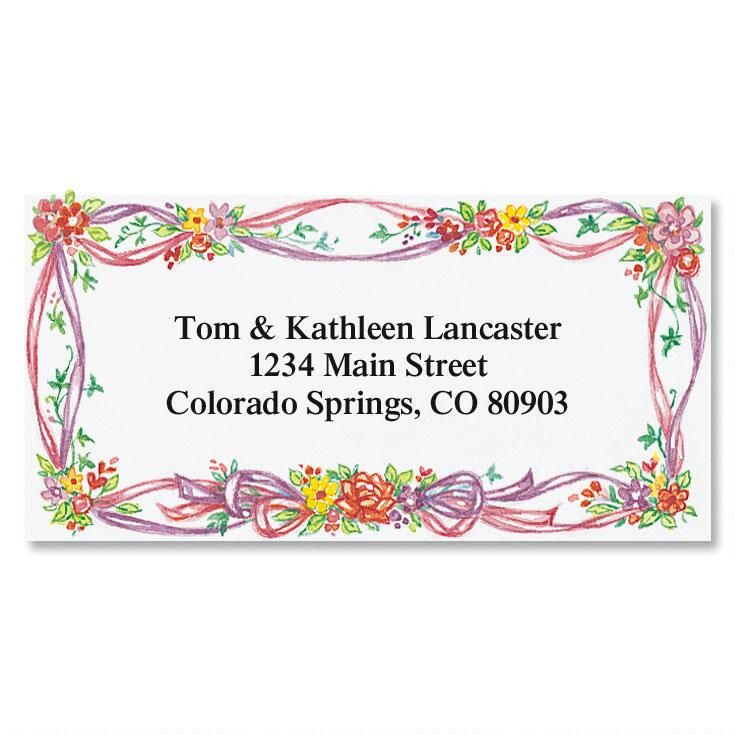 Ribbons & Posies  Border Return Address Label