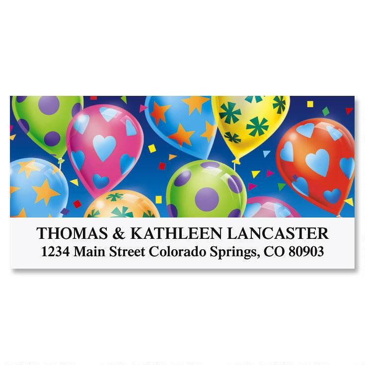 Party Balloons Deluxe Return Address Labels