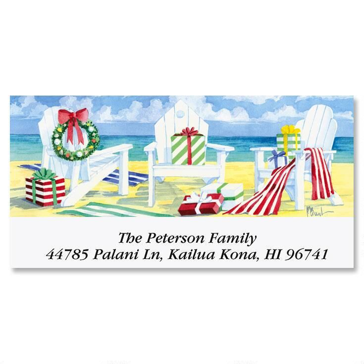 Beachfront Christmas  Deluxe Return Address Labels