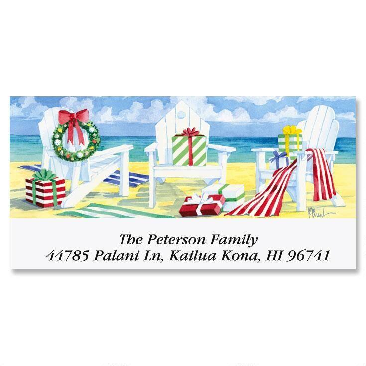 Beachfront Christmas  Deluxe Address Labels