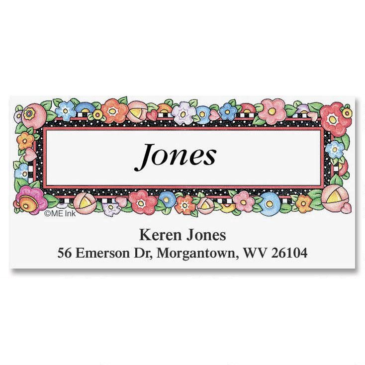 Mary's Bright Blossoms Deluxe Return Address Labels