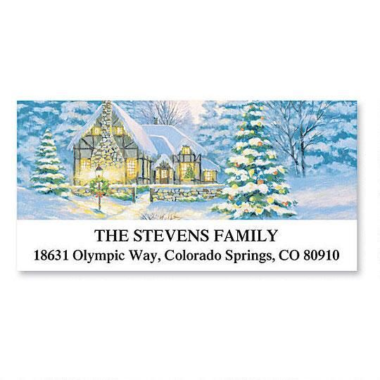 Christmas Cottage Deluxe Return Address Labels