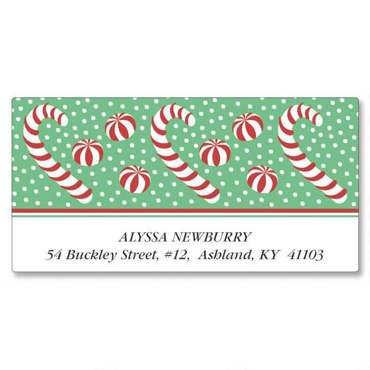 Candy Canes Deluxe Address Labels