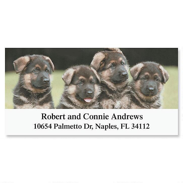German Shepherd Pups Deluxe Address Labels