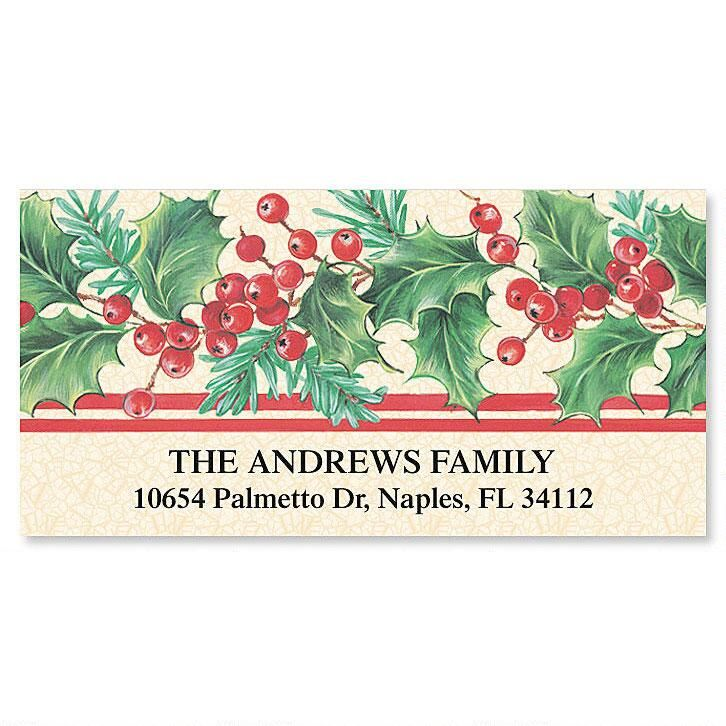 Holly Stripe  Deluxe Return Address Labels