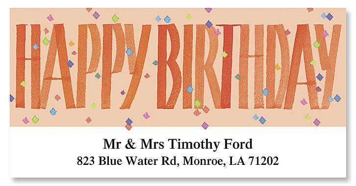 Happy Birthday Deluxe Return Address Labels