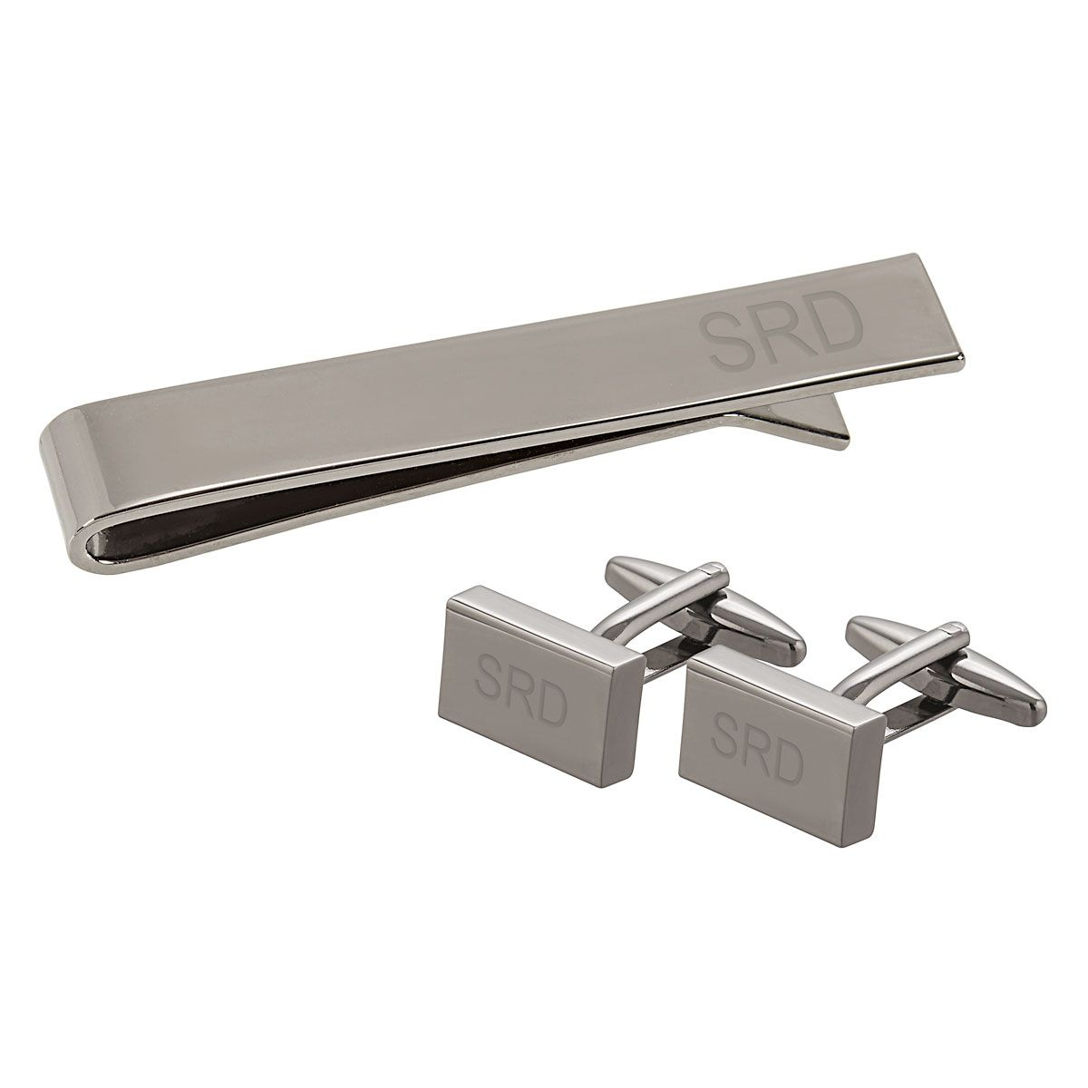 Custom Metal Rectangle Cuff Link and Tie Clip Set